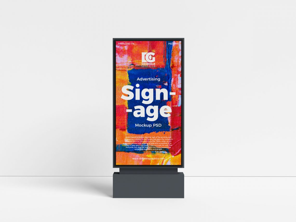 Free Outdoor Advertising Signage Mockup PSD.
