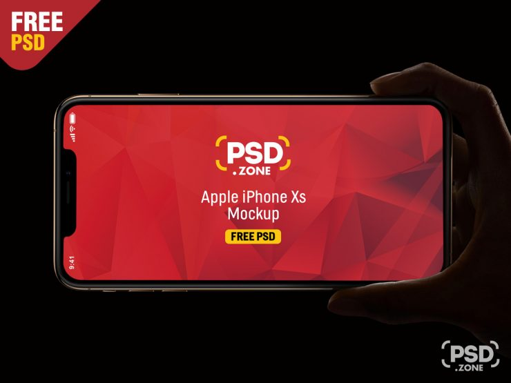 Free iPhone Xs Hand Mockup PSD.