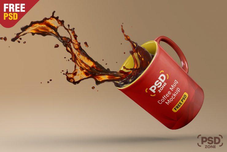 Free Floating Coffee Mug Mockup PSD.