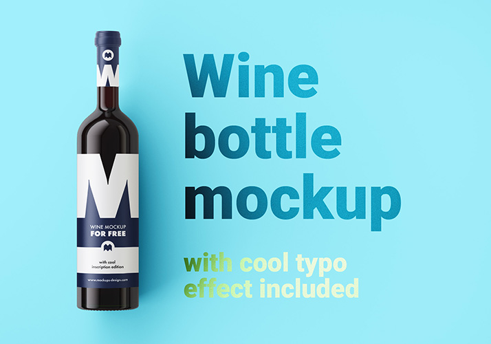 Free Wine Bottle Mockup.