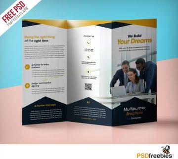 Professional Corporate Tri-Fold Brochure - Free PSD Template