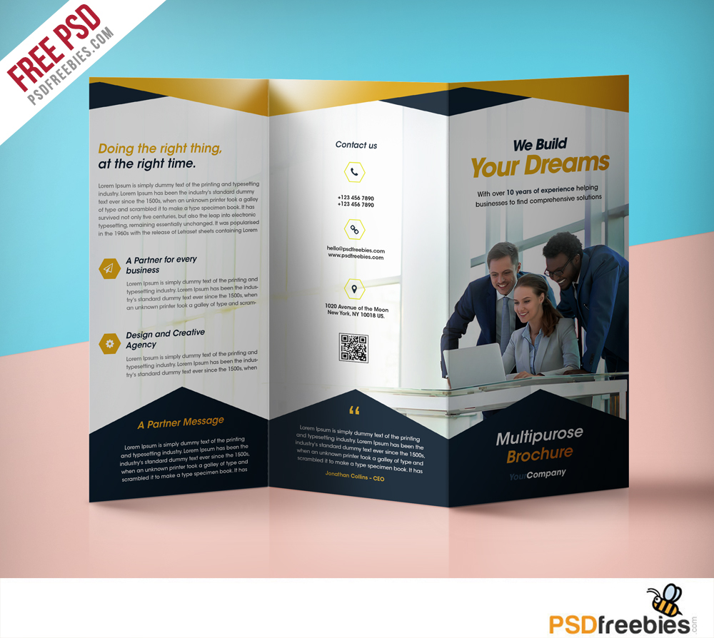 Professional Corporate Tri-Fold Brochure Free PSD Template
