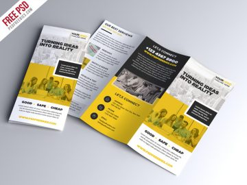 Free Multipurpose Tri-fold Brochure PSD Template