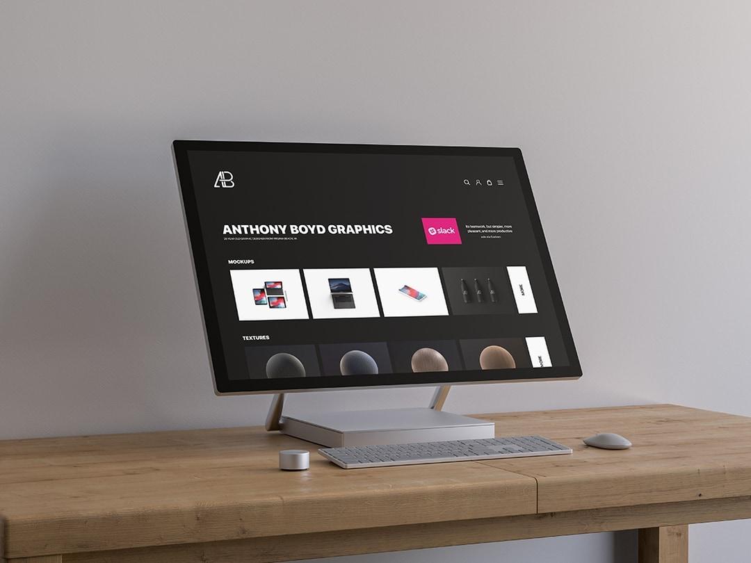 Free Surface Studio On Table Mockup.