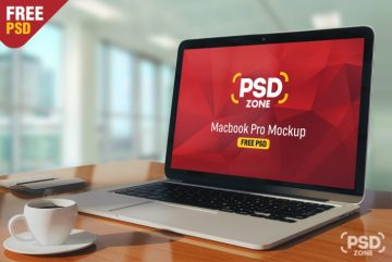 Free Macbook Pro on Table Mockup PSD