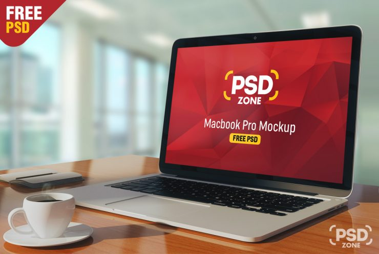 Free Macbook Pro on Table Mockup PSD.