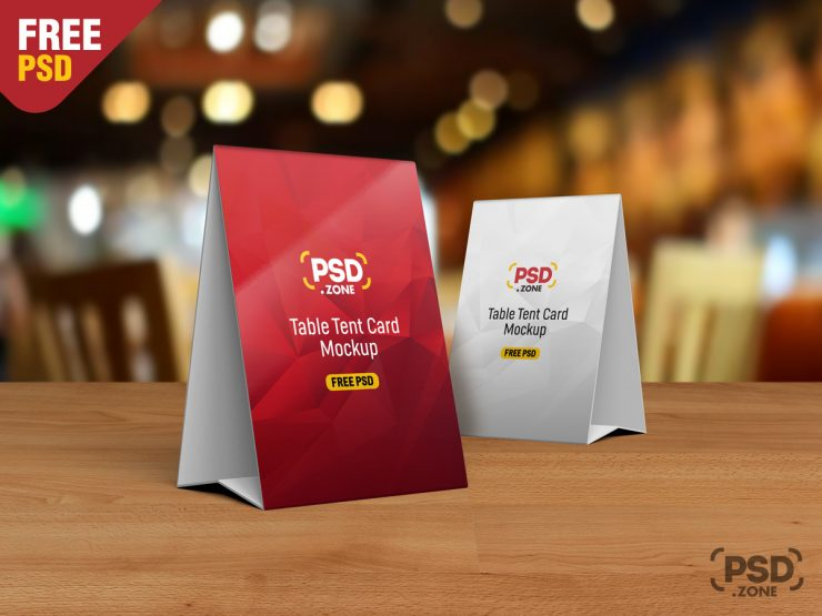 Free Table Tent Card Mockup PSD.