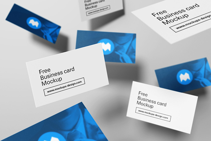 Free Flying Business Card Mockup.