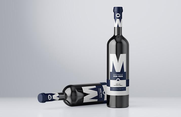 Free Exlusive Wine Bottle Mockup.