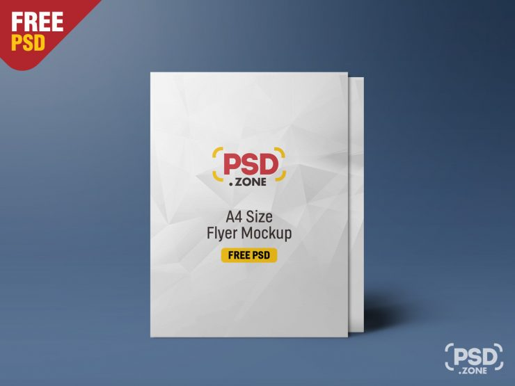 Free Standing A4 Size Flyer Mockup PSD.