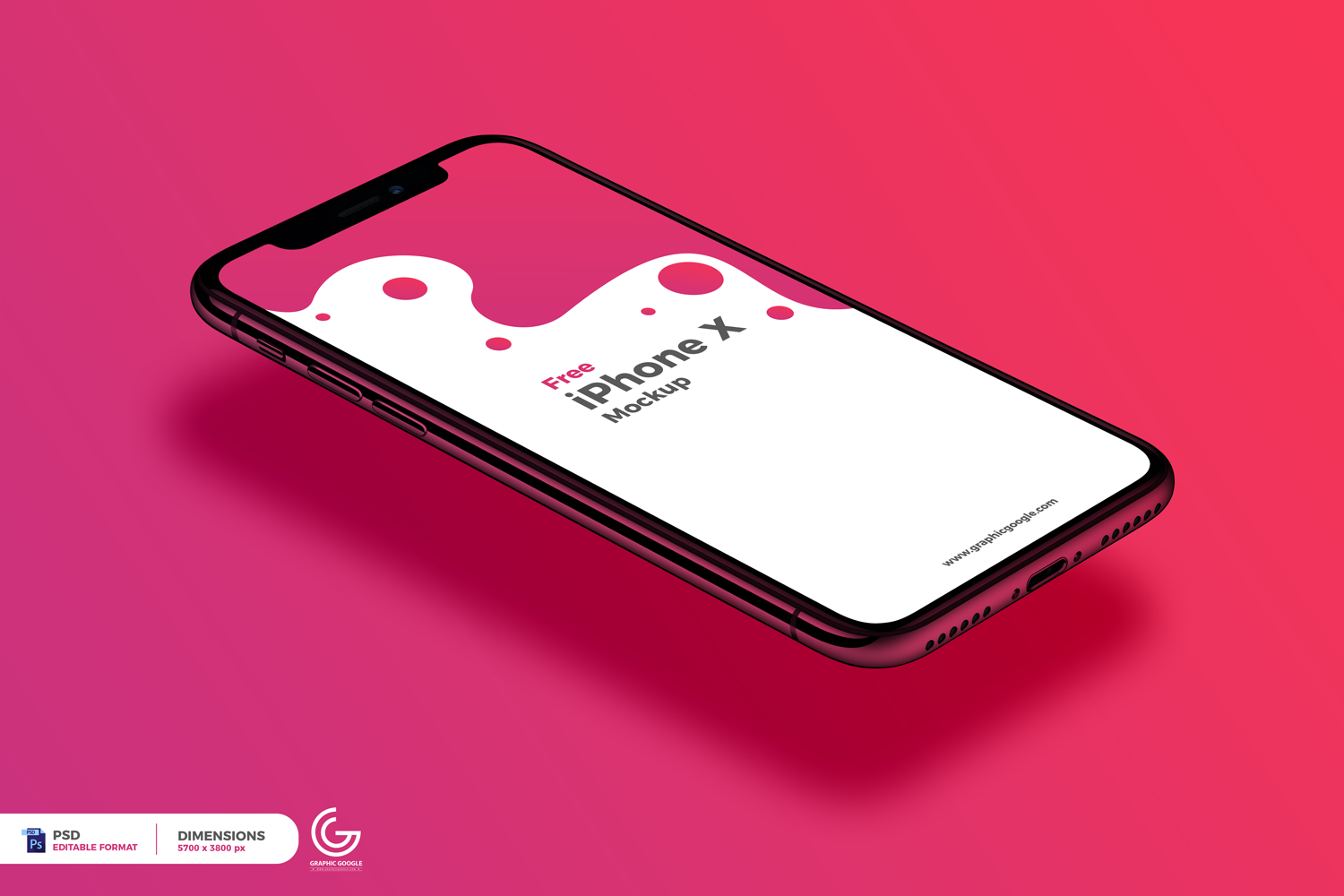 Free Perspective View iPhone X Mockup.