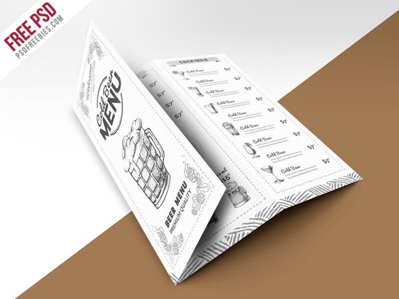 Vintage Style Bar Menu TriFold Brochure Free PSD Template