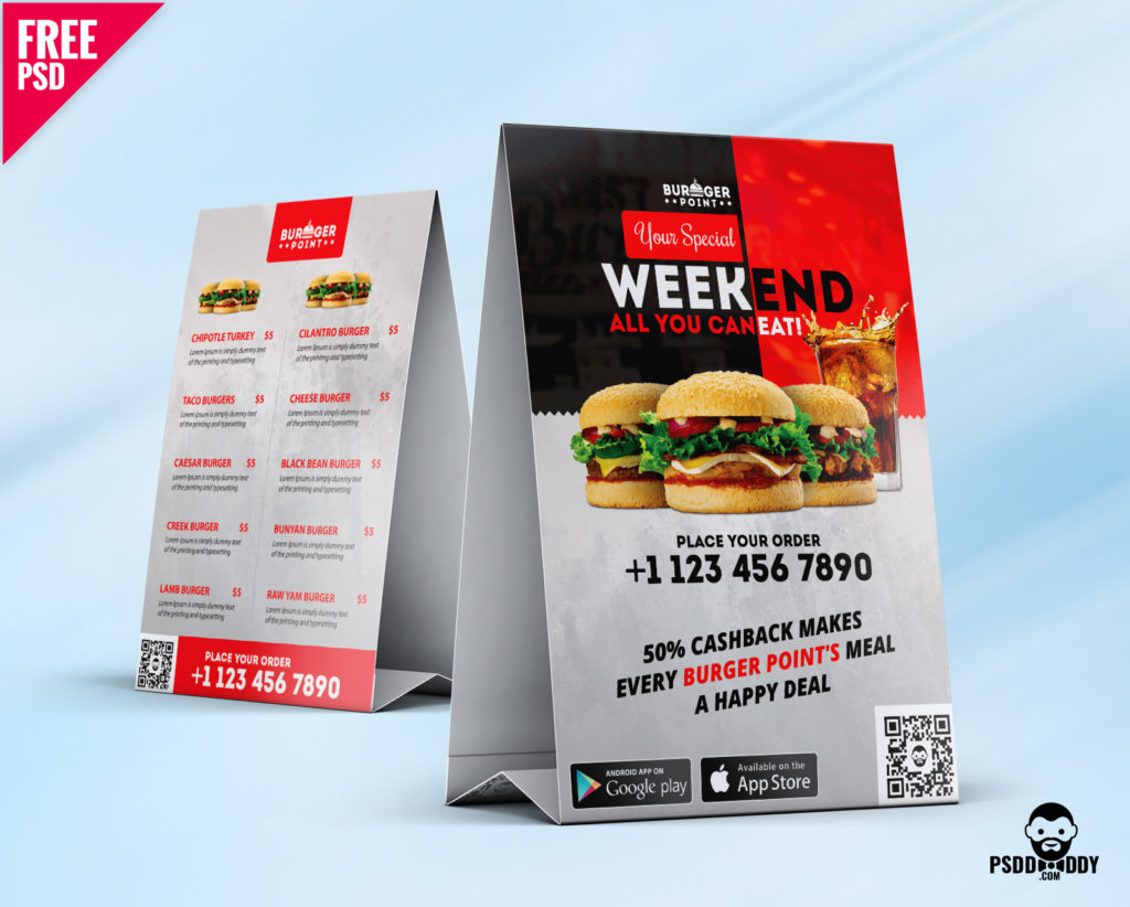 Free Restaurant Table Tent Menu PSD Template
