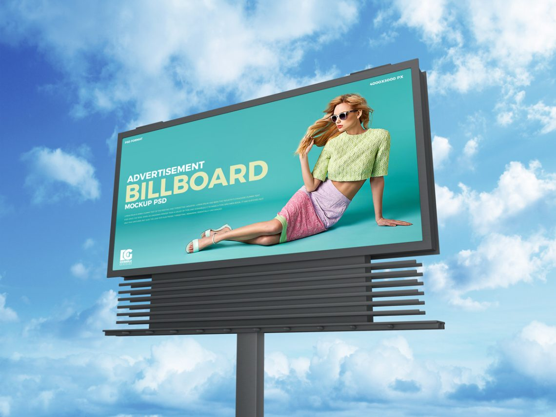 Free Sky Advertisement Billboard Mockup PSD 2019.