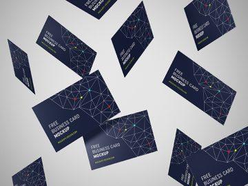 Free Creative Flying Business Card Mockup