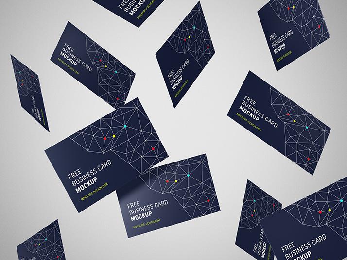 Free Creative Flying Business Card Mockup.