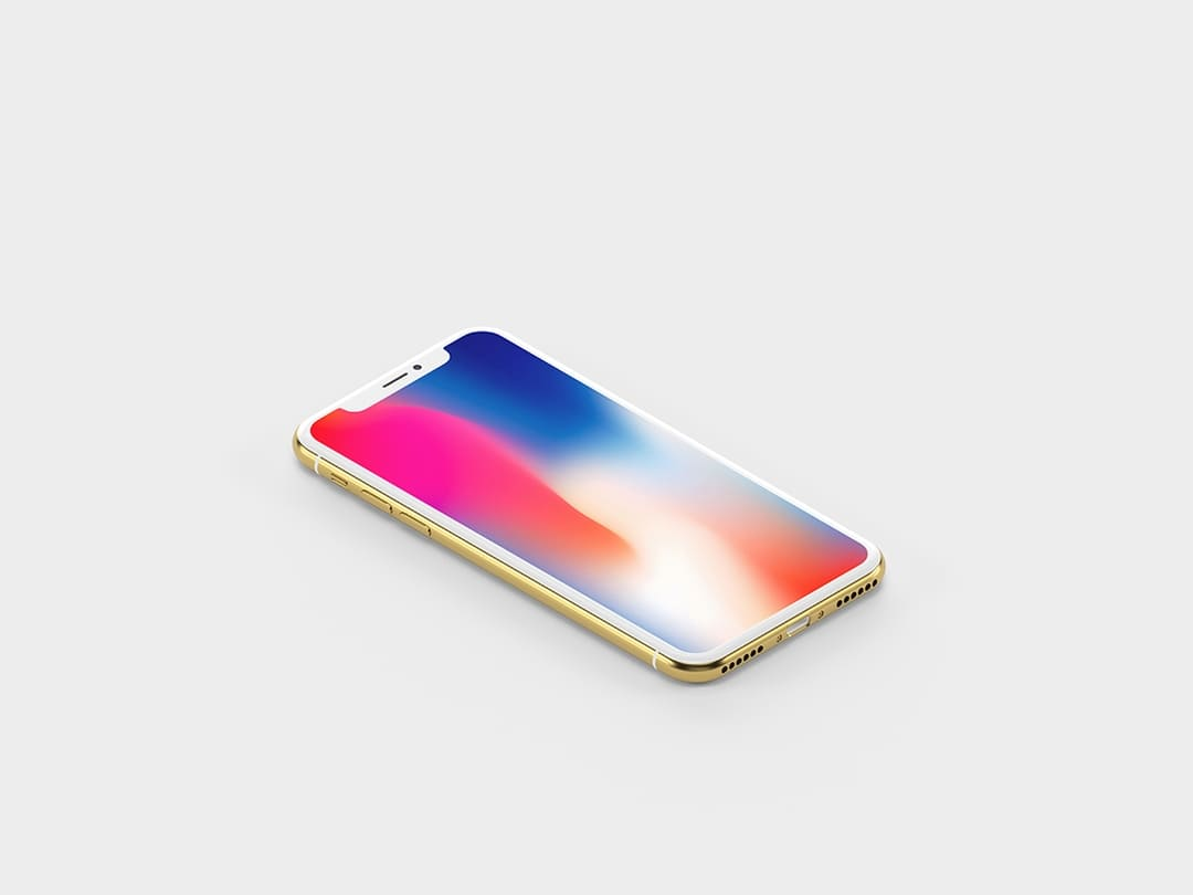 Free Gold Isometric iPhone X Mockup.