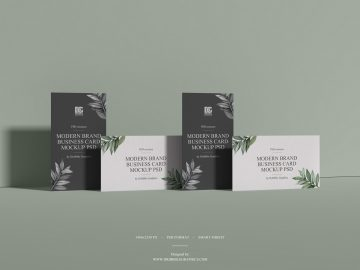 Free Modern Brand Business Card Mockup PSD 2019
