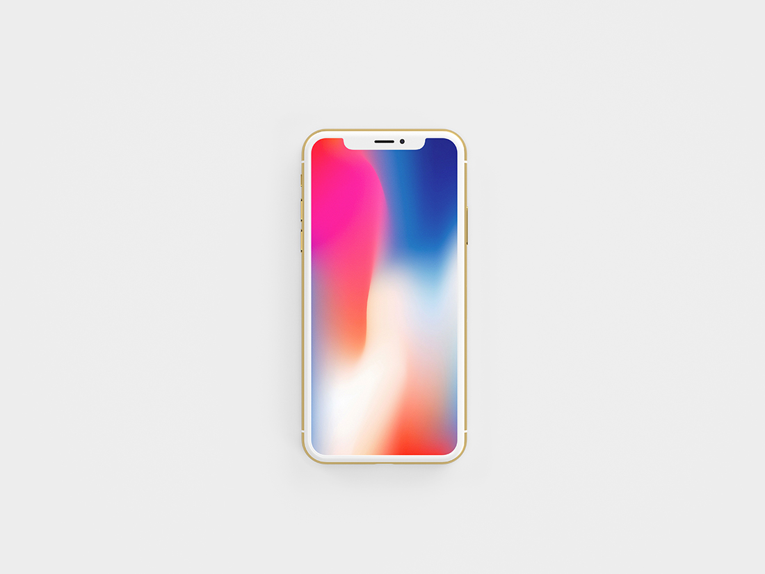 Free Gold Front View iPhone X Mockup