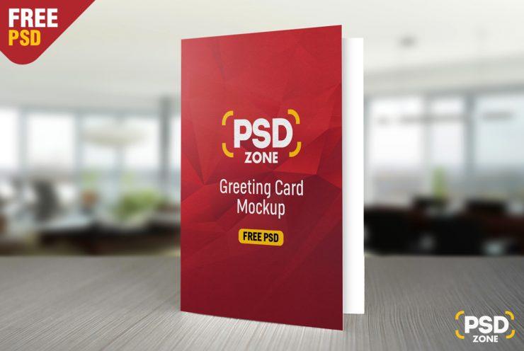Free Greeting Card Mockup PSD.