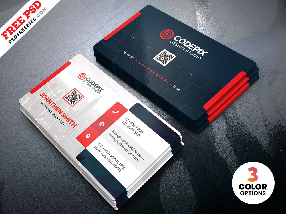 Free PSD Clean Business Card Design.