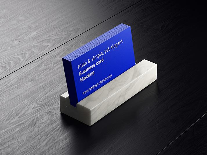 Free Business Card On Dark Wood Mockup.