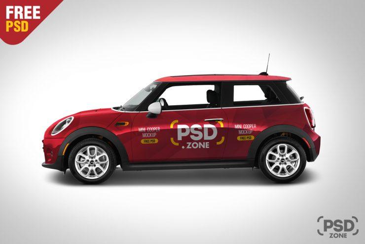 Free Mini Cooper Mockup PSD.