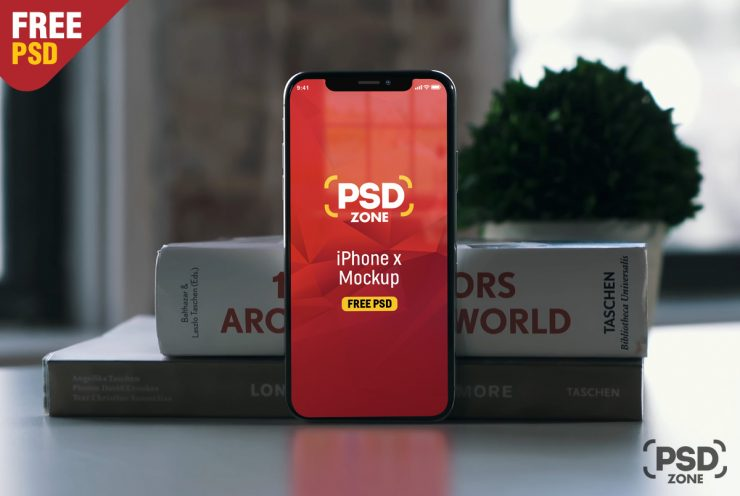 Free Photorealistic iPhone X Mockup PSD.