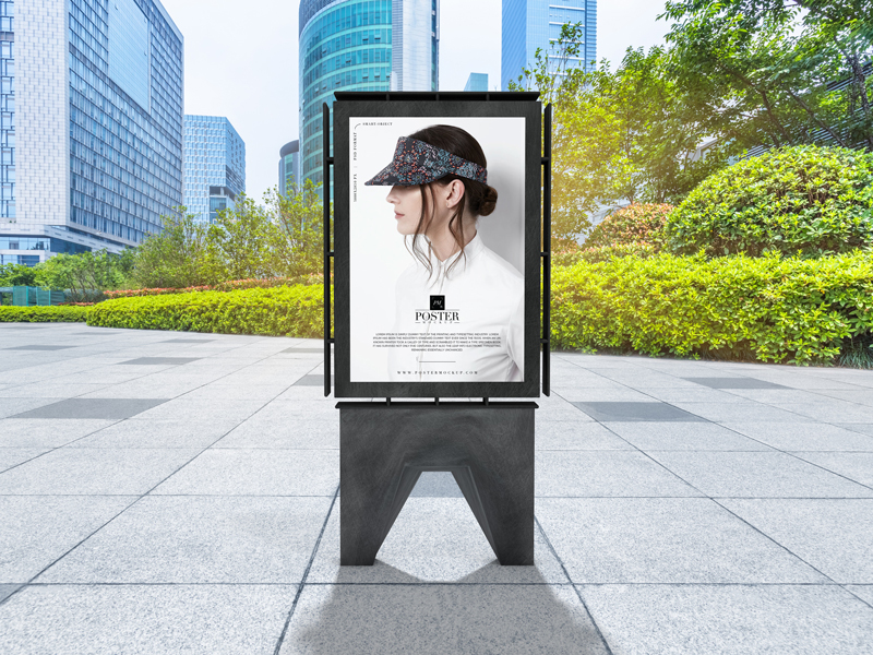 Free Modern Outdoor Advertisement Poster Mockup PSD 2019.