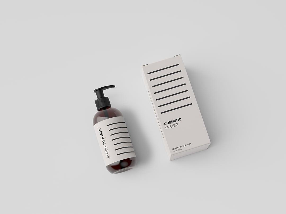 Free Cosmetic Bottle Packaging Showcase Mockup.