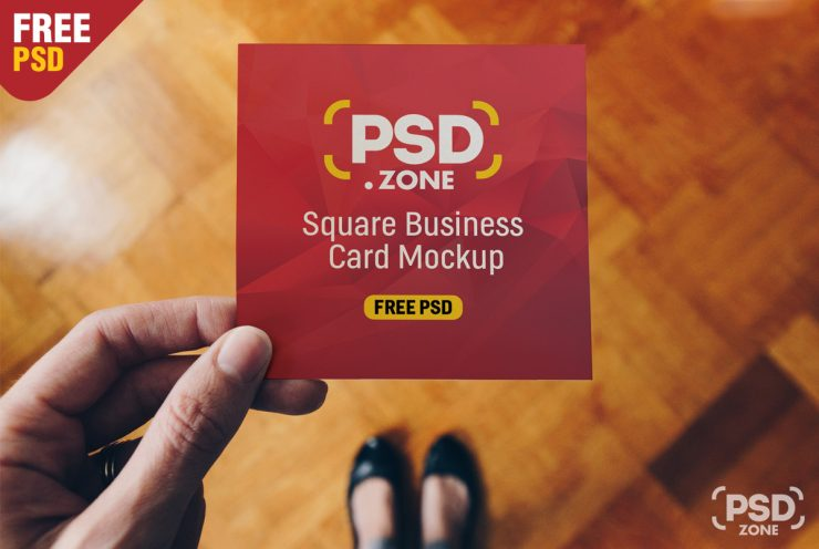 Free Square Business Card Mockup PSD.