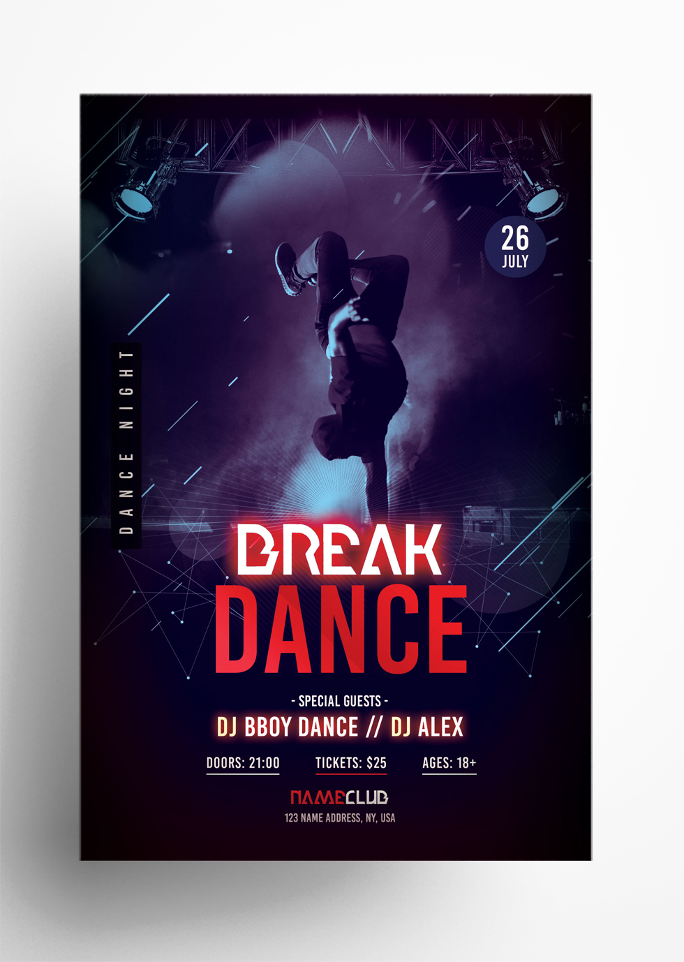 Break Dance Free PSD Flyer Template