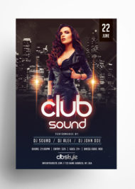 Club Sound Night PSD Free Flyer Template