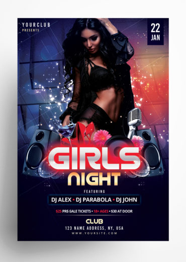 Girls Night PSD Flyer Template