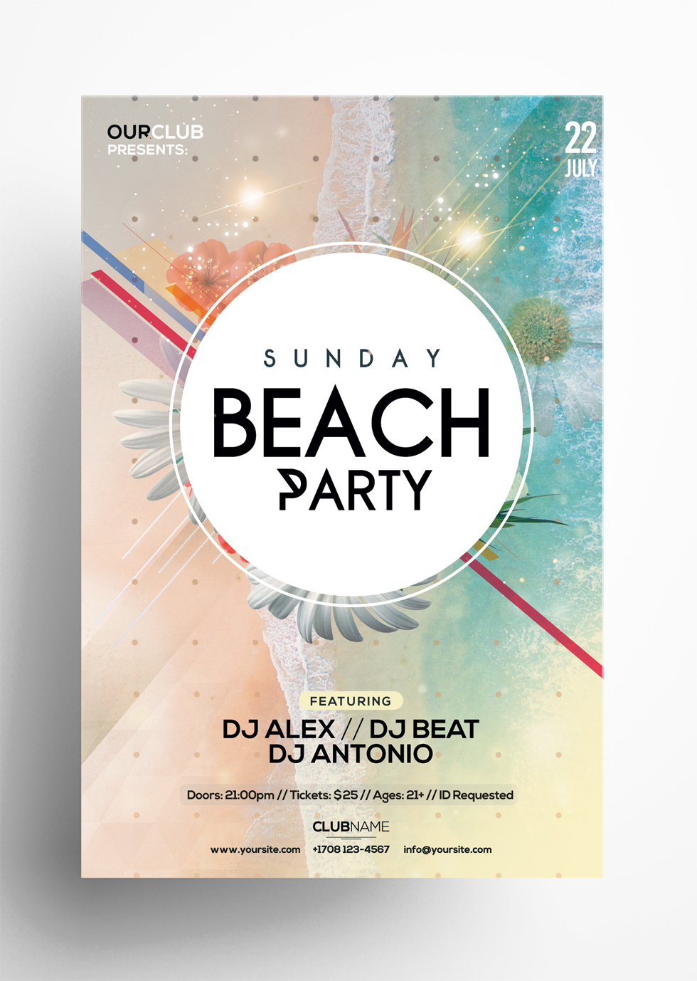 Sunday Beach – Free Summer PSD Flyer Template