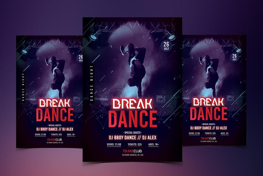 Break Dance Free PSD Flyer Template