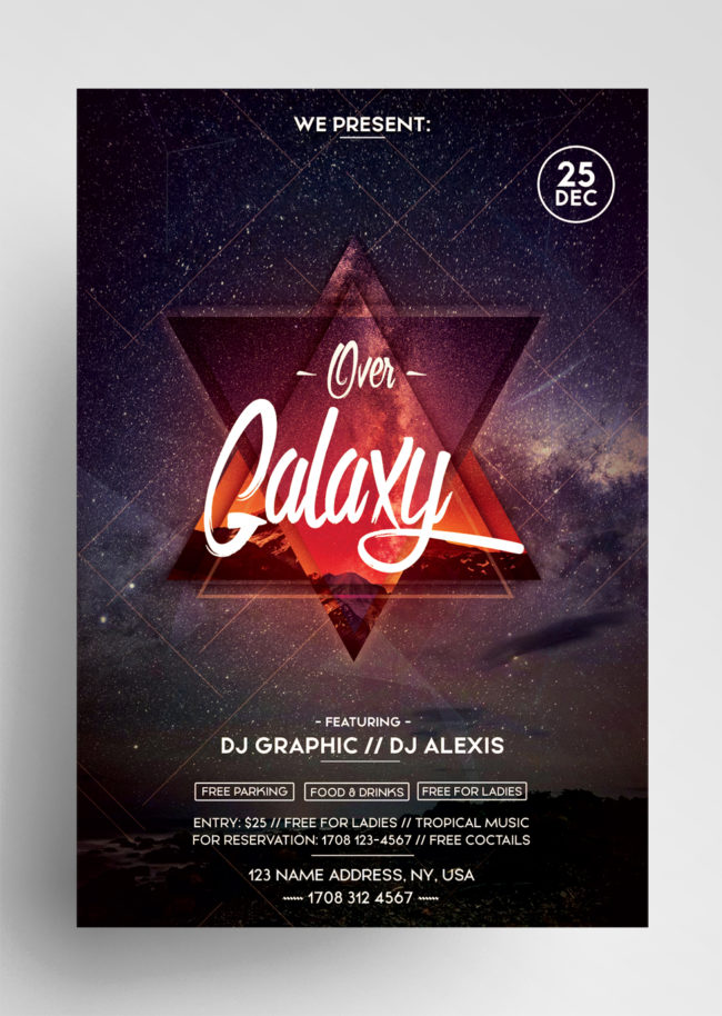 Over Galaxy PSD Flyer Template