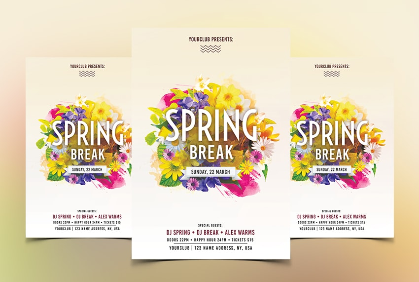 Spring Break PSD Free Flyer Template