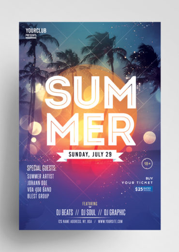 Summer Event Flyer PSD Template