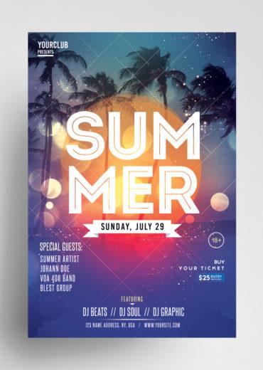 Summer Event Flyer PSD Template