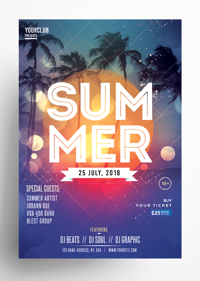 Summer Event PSD Flyer Template