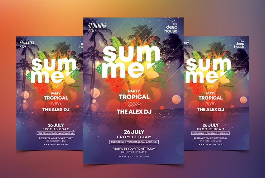 Summer Tropical Free PSD Flyer Template