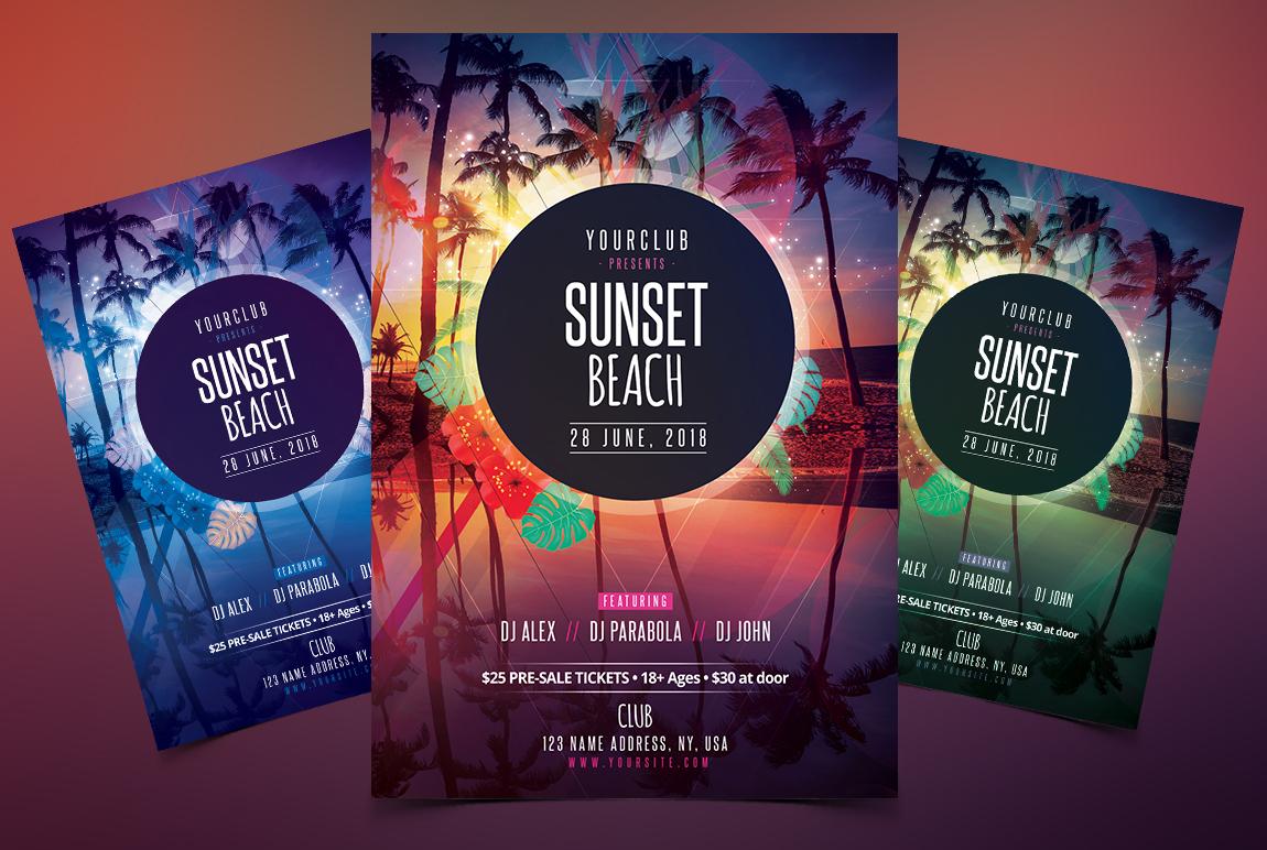 Sunset Beach - PSD Flyer Template