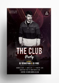 the Club Party PSD Free Flyer Template