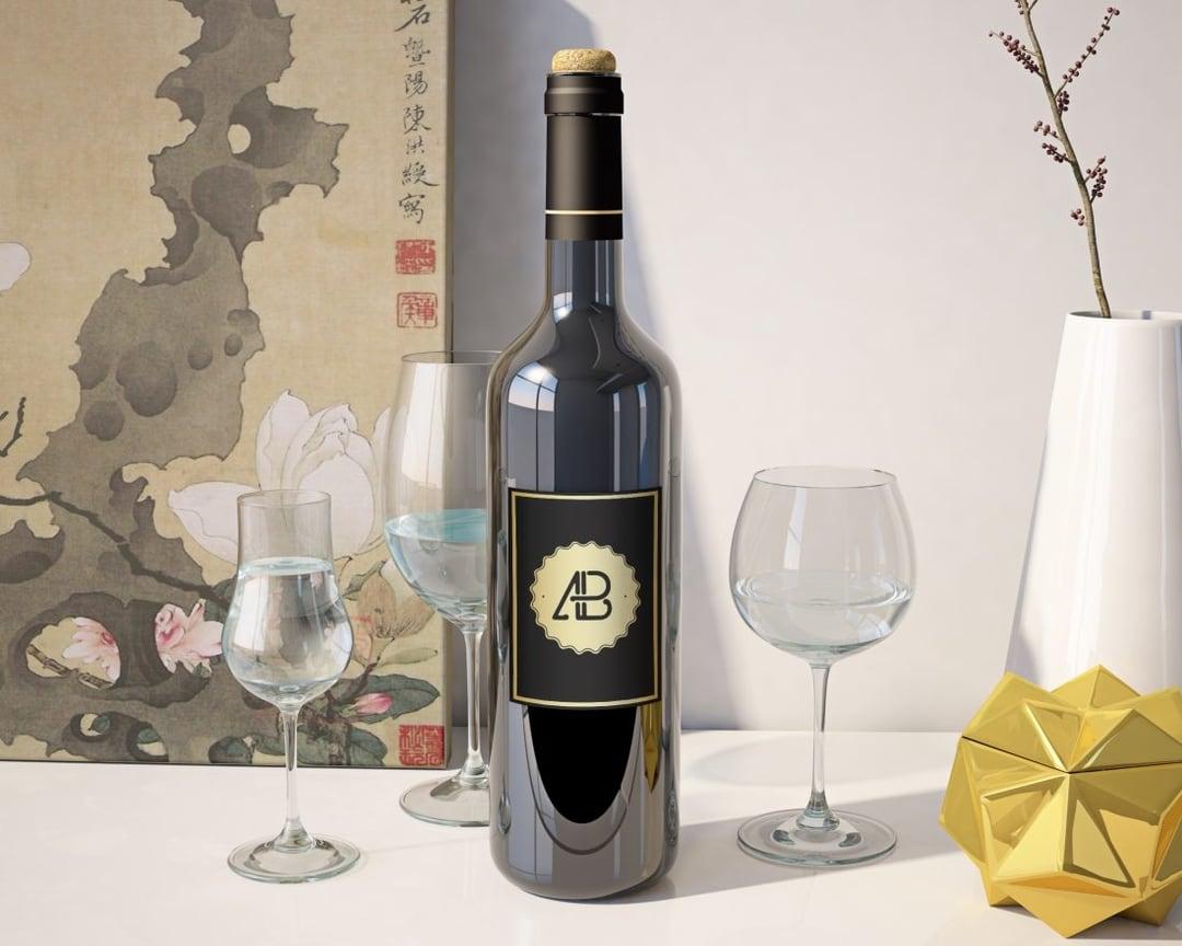 Realistic Wine Bottle Free Mockup