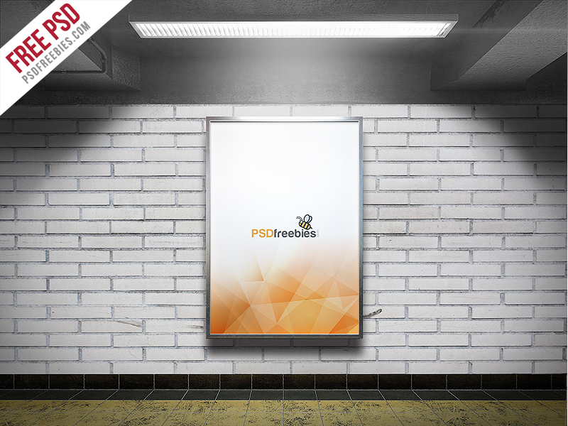 Subway Advertising Billboard Free Mockup