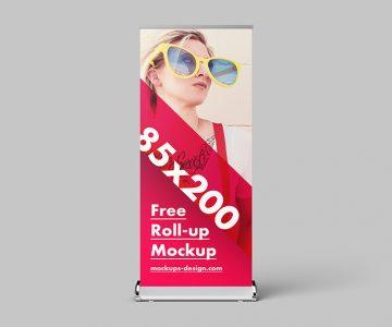 Free Roll-up Mockup / 85×200 cm