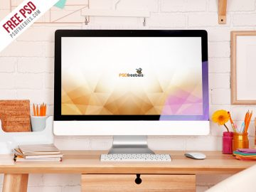Free iMac Desktop Workspace Mockup