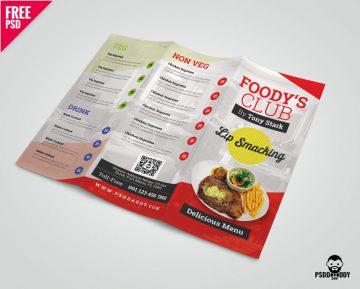 Free Restaurant Tri-Fold Brochure Menu PSD