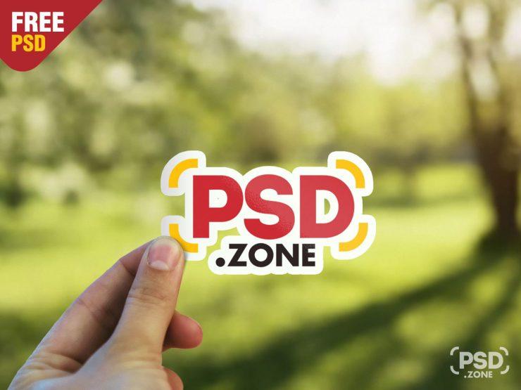 Hand Holding Sticker Free Mockup PSD